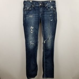 Silver Aiko Baby Boot Cut Destroyed Womens Jeans